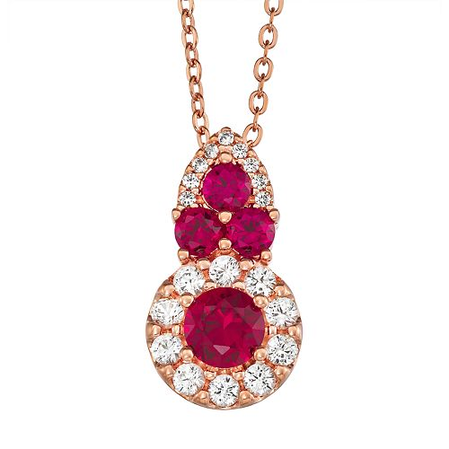 14k Rose Gold Over Silver Lab-Created Ruby Pendant Necklace