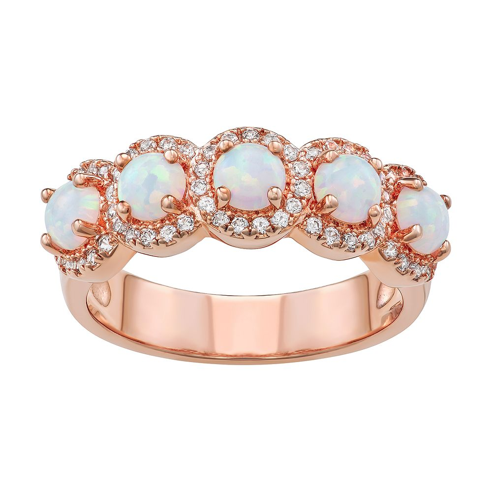 14k Rose Gold Over Silver Lab-Created White Opal Ring