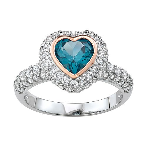 Two Tone Sterling Silver Lab-Created Blue Spinel & Cubic Zirconia Heart Ring