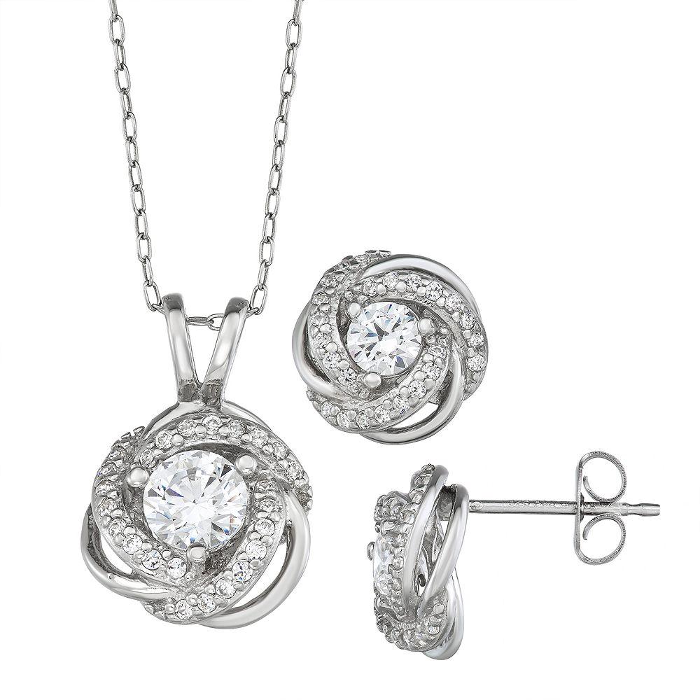 Sterling Silver Cubic Zirconia Love Knot Pendant & Stud Earring Set