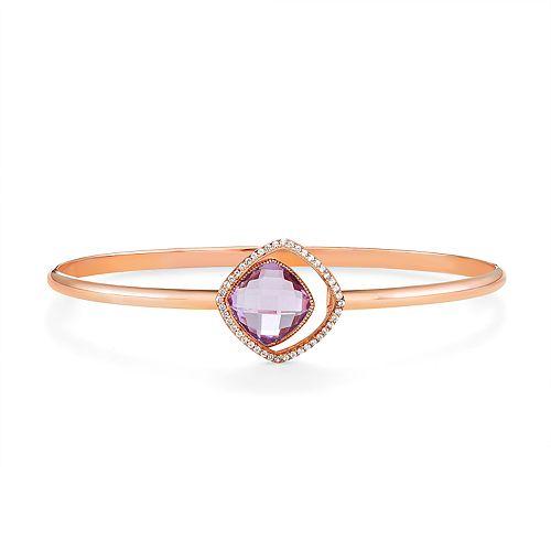 14k Rose Gold Over Silver Amethyst & Lab-Created White Sapphire Bangle Bracelet