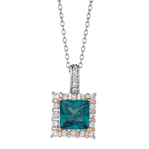 Two Tone Sterling Silver Lab-Created Spinel & Cubic Zirconia Square Pendant Necklace