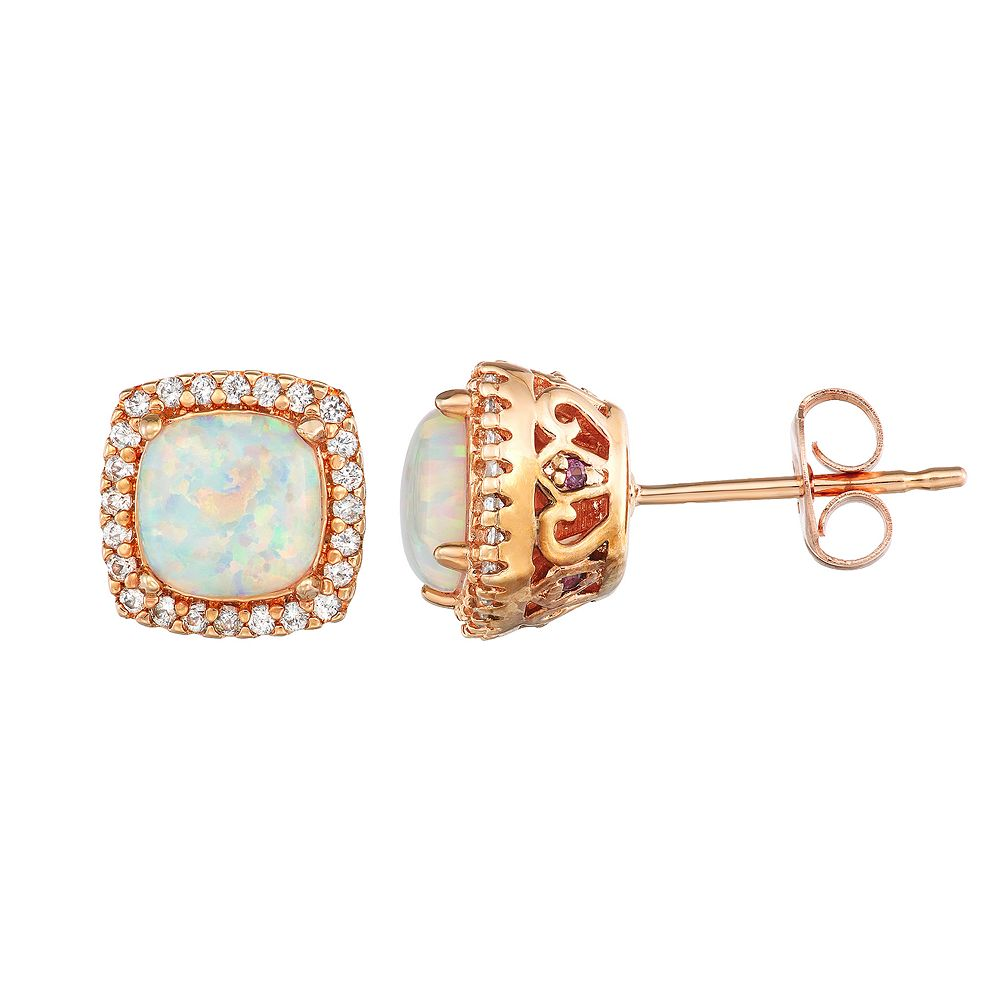 14k Rose Gold Over Silver Lab-Created White Opal Stud Earrings
