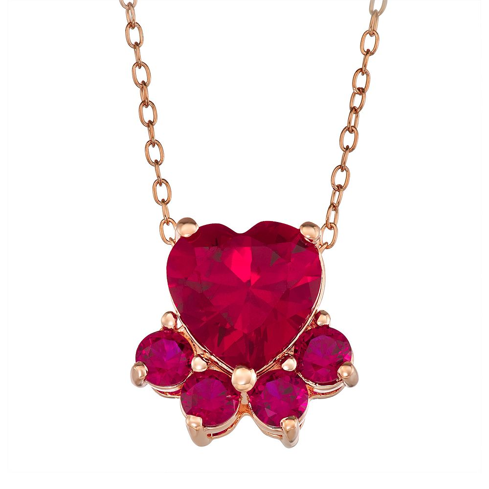 14k Rose Gold Over Silver Lab-Created Ruby Paw Pendant Necklace
