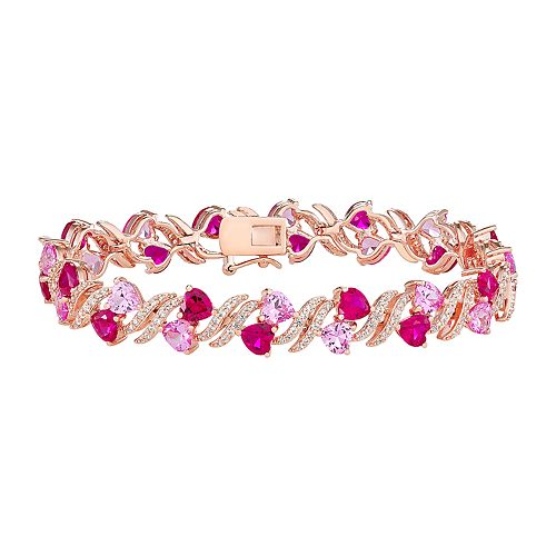 14k Rose Gold Over Silver Lab-Created Ruby & Lab-Created Sapphire Heart Bracelet