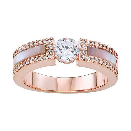 14k Rose Gold Over Silver Cubic Zirconia & Mother-of-Pearl Ring