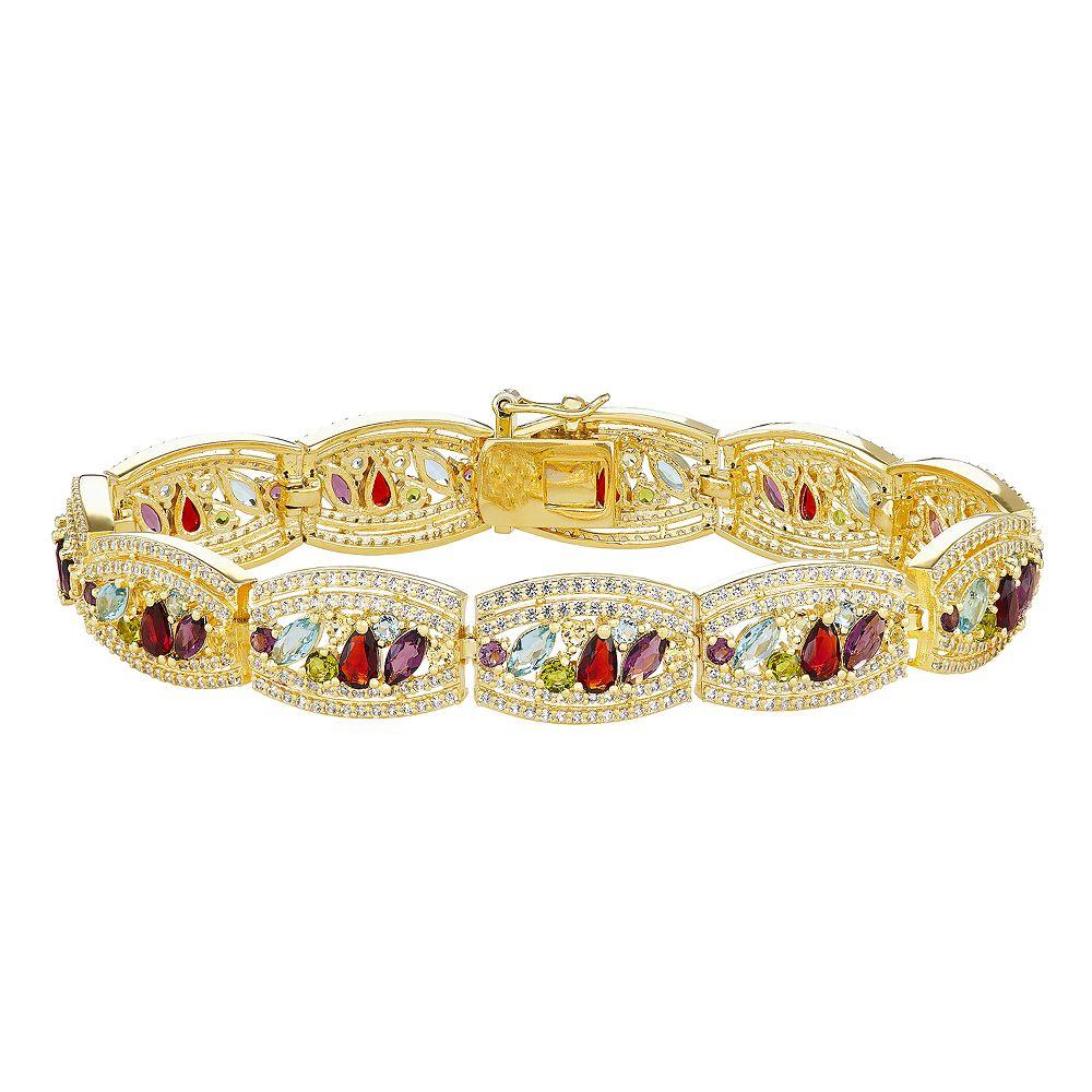 18k Gold Plated Gemstone Bracelet