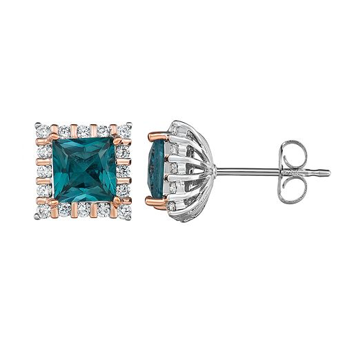 Two Tone Sterling Silver Lab-Created Blue Spinel & Cubic Zirconia Stud Earrings