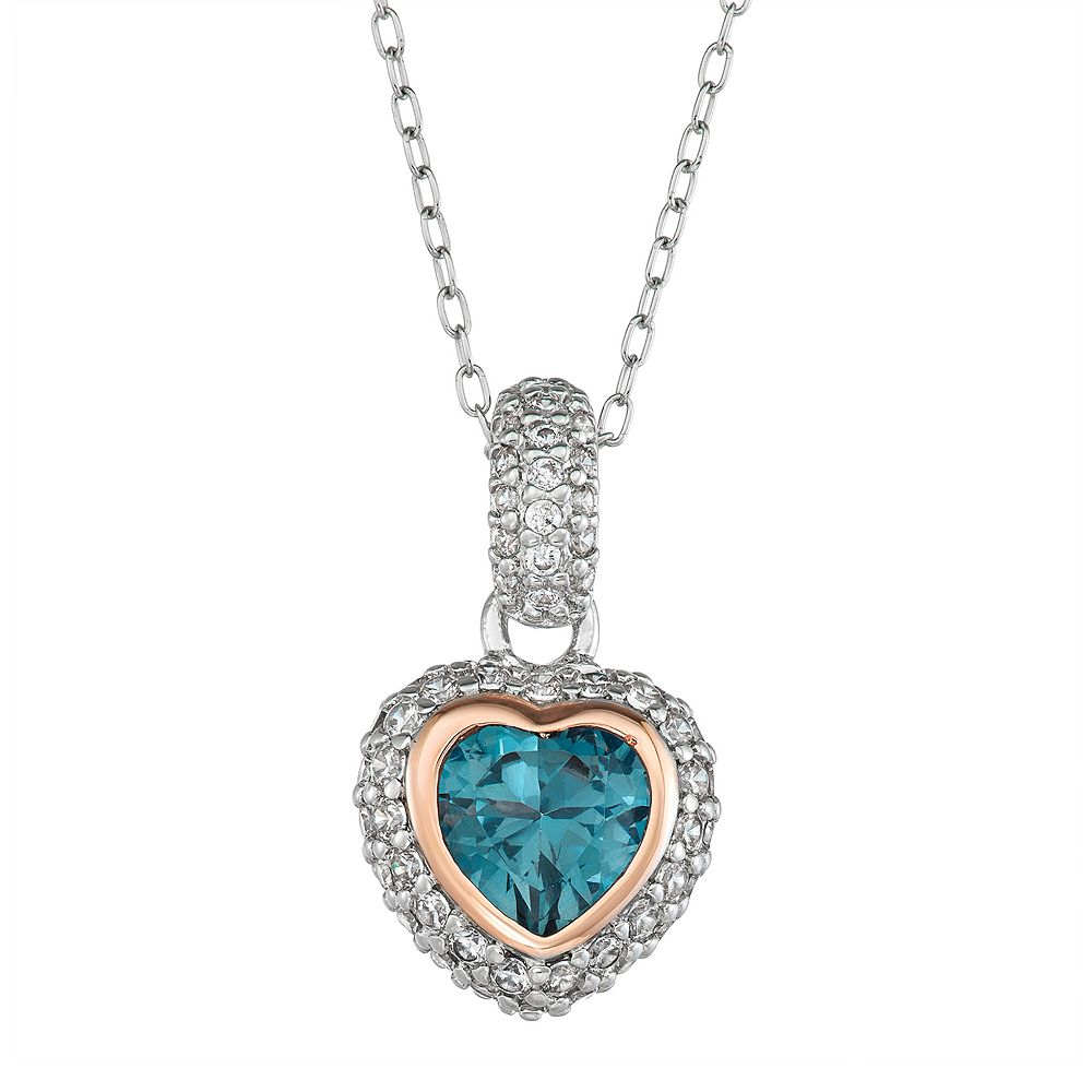 Two Tone Sterling Silver Lab-Created Blue Spinel & Cubic Zirconia Heart Pendant Necklace