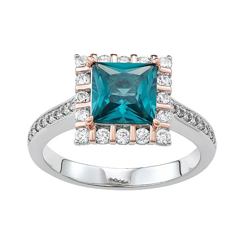 Two Tone Sterling Silver Lab-Created Blue Spinel & Cubic Zirconia Ring