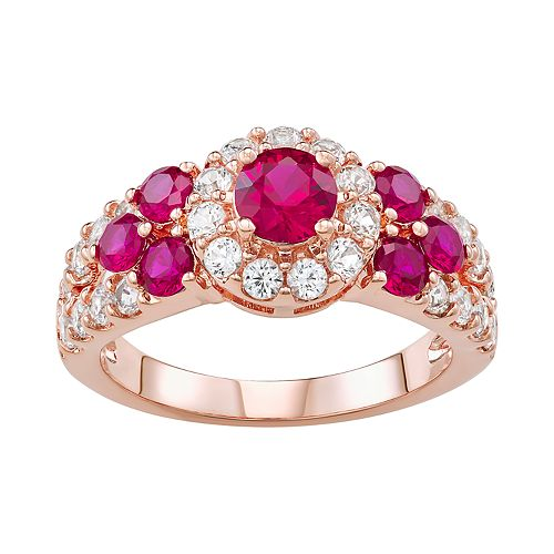 14k Rose Gold Over Silver Lab-Created Ruby & Lab-Created White Sapphire Halo Ring