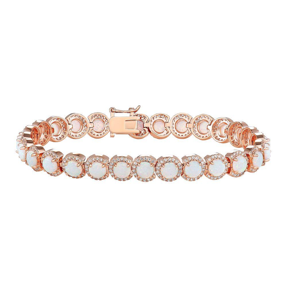 14k Rose Gold Over Silver Lab-Created White Opal Bracelet