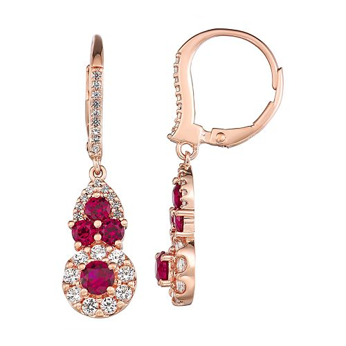14k Rose Gold Over Silver Lab-Created Ruby & White Sapphire Drop Earrings