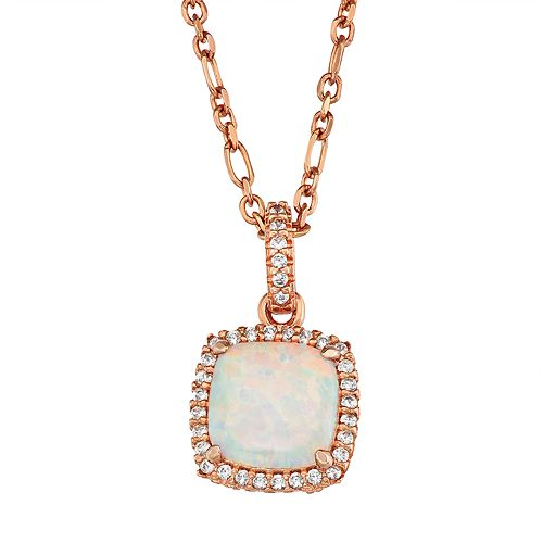 14k Rose Gold Over Silver Lab-Created White Opal Cushion Pendant Necklace