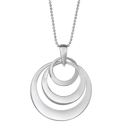 Sterling Silver Concentric Circle Pendant Necklace
