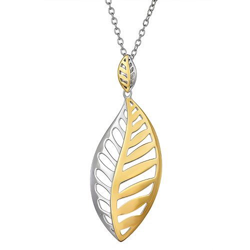 Two Tone Sterling Silver Leaf Pendant Necklace