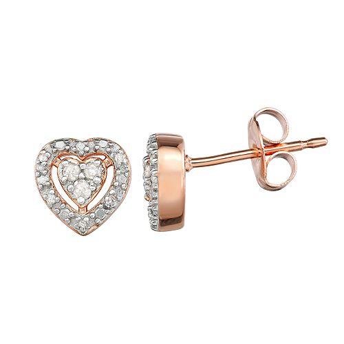 14k Rose Gold 1/10 Carat T.W. Diamond Heart Stud Earrings