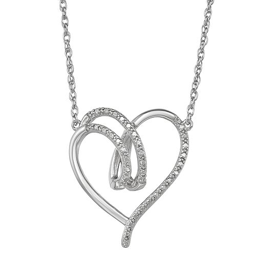 Sterling Silver Diamond Accent Open Heart Necklace