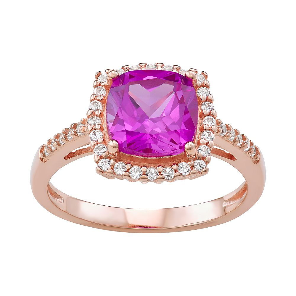 Rose Gold Over Sterling Silver Lab-Created Sapphire Ring
