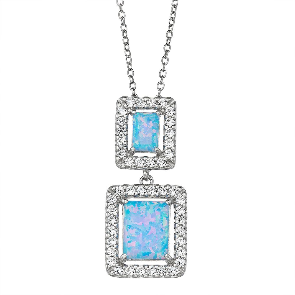 Sterling Silver Lab-Created Opal Square Cabochon Pendant Necklace