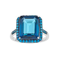 SIRI USA by TJM Sterling Silver Synthetic London Blue Topaz & Blue Cubic Zirconia Ring