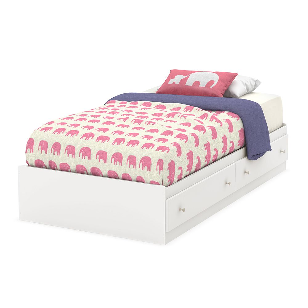 South Shore Litchi Mates Bed with 2 Drawers