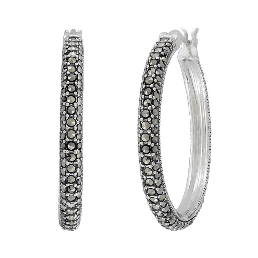 Lavish by TJM Sterling Silver Marcasite Hoop Earrings