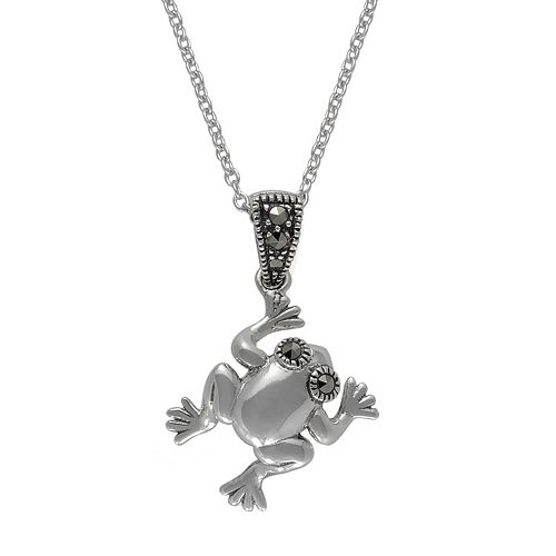 Lavish by TJM Sterling Silver Marcasite Frog Charm Pendant Necklace