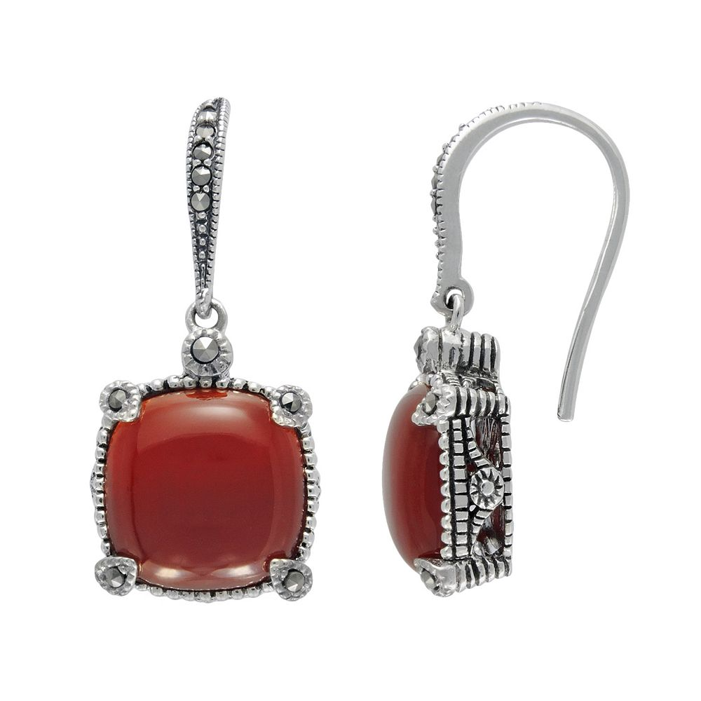 Lavish by TJM Sterling Silver Red Agate & Marcasite Cushion Earrings