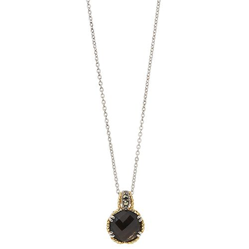 Lavish by TJM Sterling Silver Smoky Quartz & Marcasite with 18K Gold Pendant Necklace