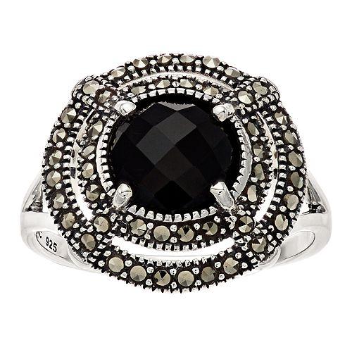 Lavish by TJM Sterling Silver Black Onyx & Marcasite Circle Ring
