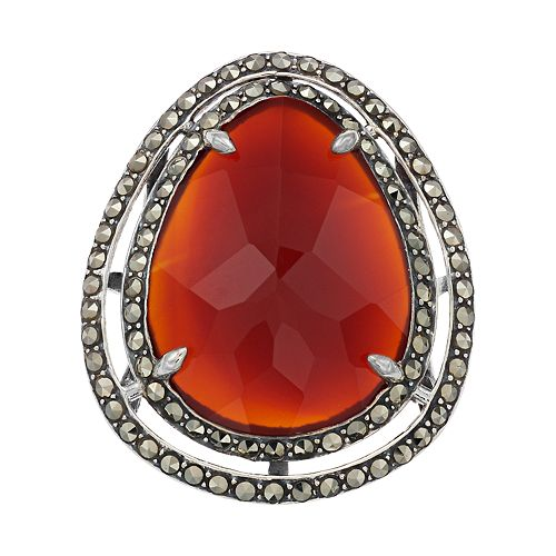 Lavish by TJM Sterling Silver Red Agate & Marcasite with White Topaz Ring