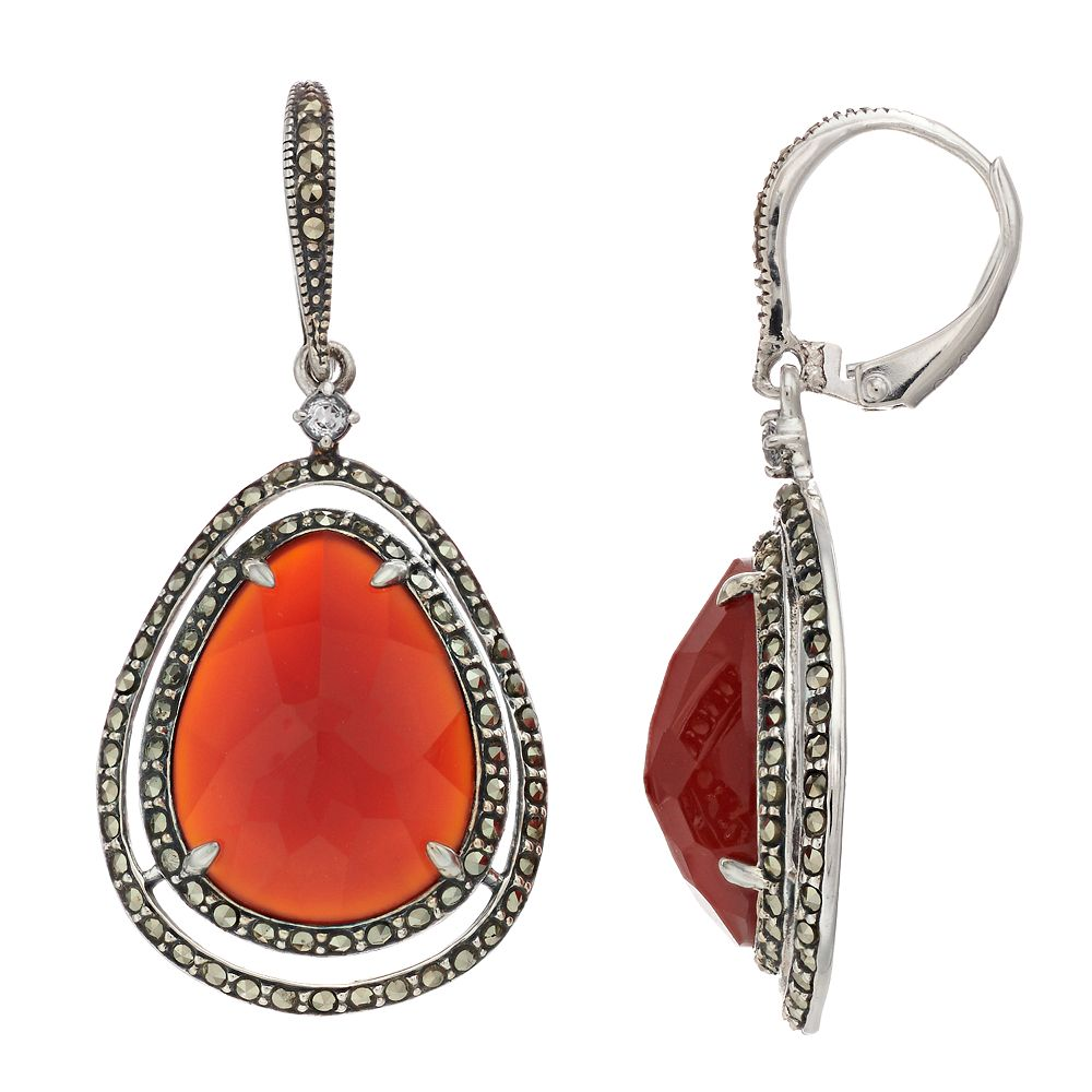 Lavish by TJM Sterling Silver Red Agate & Marcasite with White Topaz Earrings