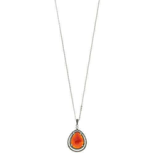 Lavish by TJM Sterling Silver Red Agate & Marcasite with White Topaz Pendant Necklace