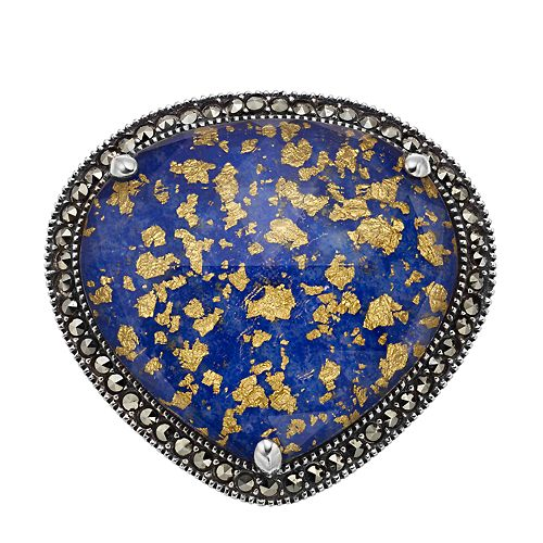 Lavish by TJM Sterling Silver Crystal Gold Leaf Lapis Doublet & Marcasite Ring