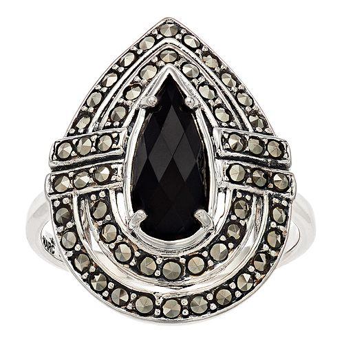 Lavish by TJM Sterling Silver Black Onyx & Marcasite Oriental Ring