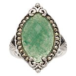 Lavish by TJM Sterling Silver Green Aventurine & Marcasite Marquise Ring