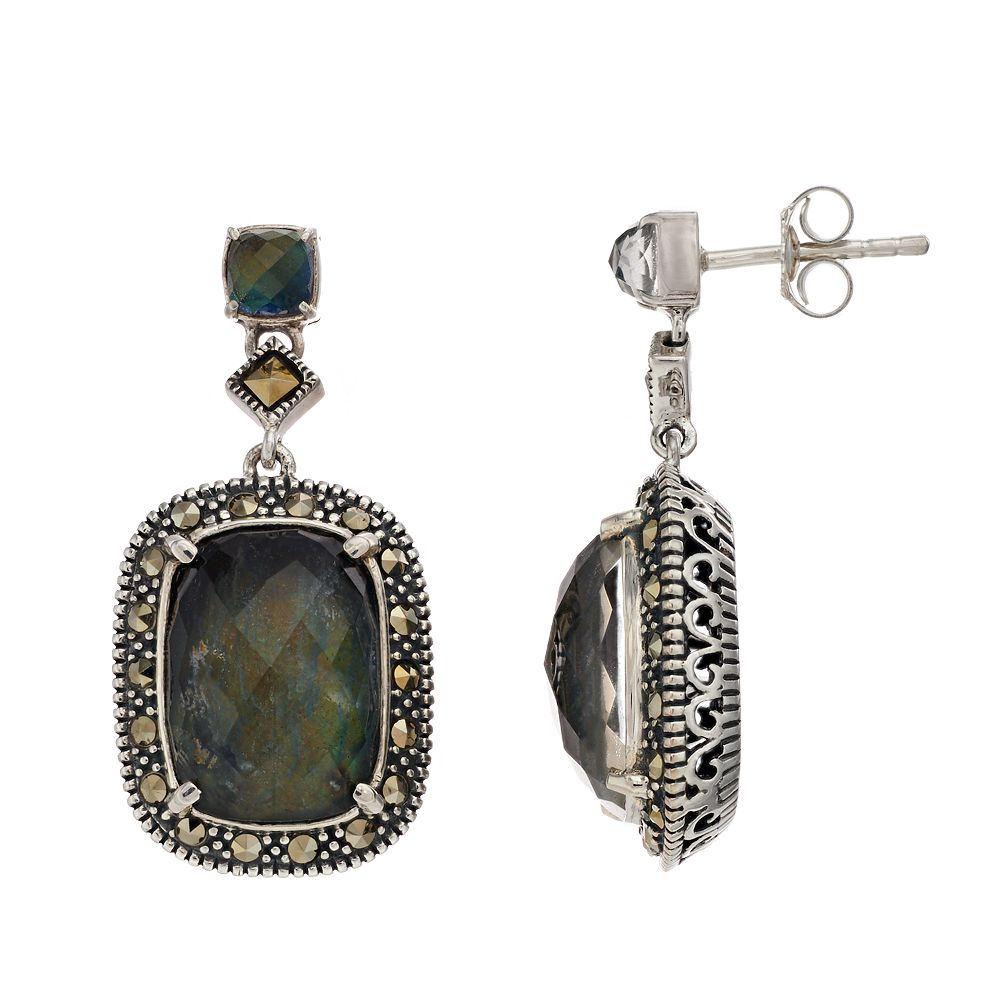 Lavish by TJM Sterling Silver Crystal Labradorite Doublet & Marcasite Earrings
