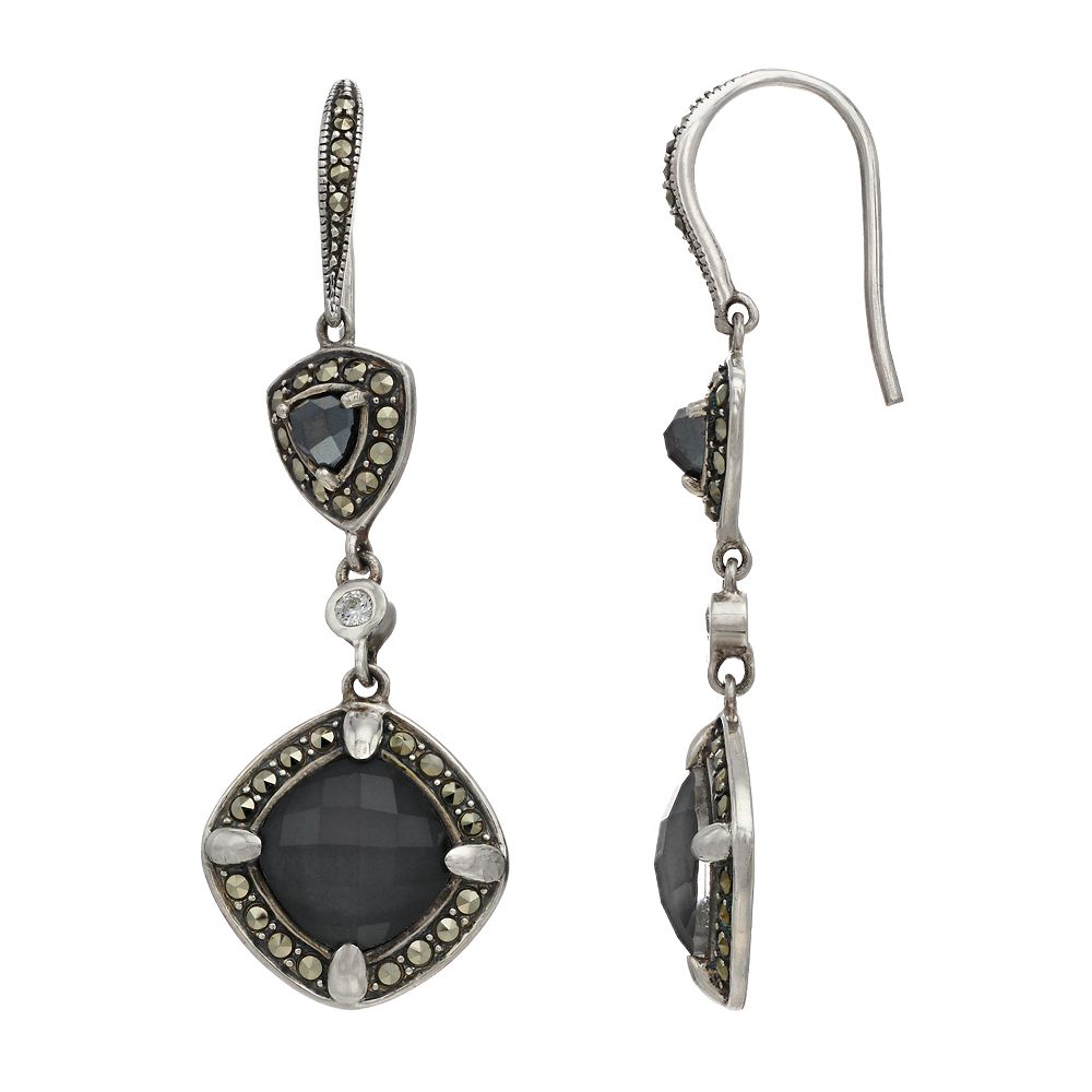 Lavish by TJM Sterling Silver Crystal Hematite Doublet & Marcasite White CZ Earrings