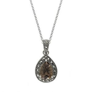 Lavish by TJM Sterling Silver Smoky Quartz & Marcasite Pendant Necklace