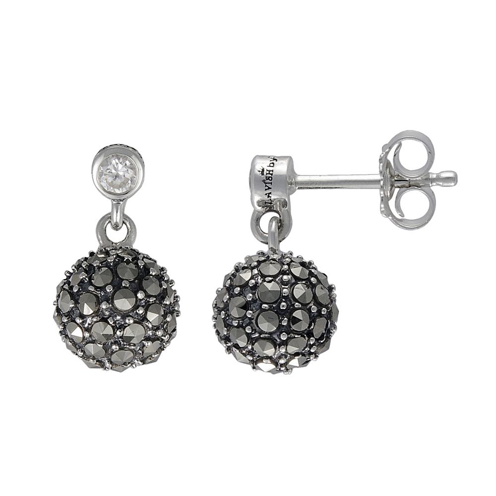 Lavish by TJM Sterling Silver Semi White CZ & Marcasite Ball Earrings