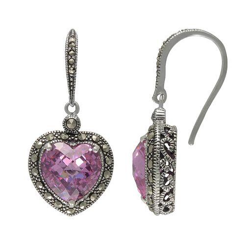 Lavish by TJM Sterling Silver Heart Pink CZ & Marcasite Earrings