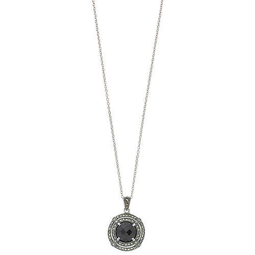 Lavish by TJM Sterling Silver Black Onyx & Marcasite Circle Pendant Necklace