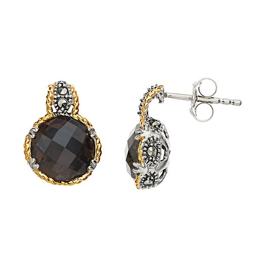 Lavish by TJM Sterling Silver Smoky Quartz & Marcasite with 18K Gold Earrings