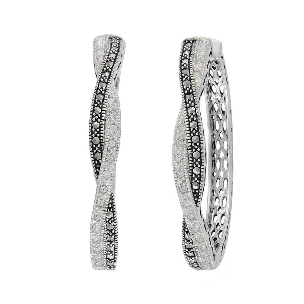 Lavish by TJM Sterling Silver White Crystal & Marcasite Hoop Earrings