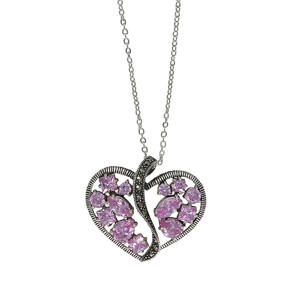 Lavish by TJM Sterling Silver Heart Pink CZ & Marcasite Pendant Necklace