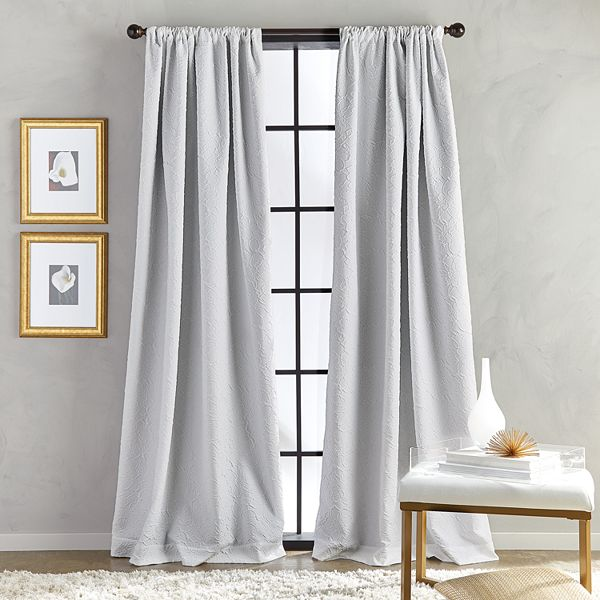 Bloomsbury Pole Top Lined White Curtains, Lined White Curtains