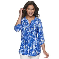 48d46478376 Women s Cathy Daniels Print Henley Top. Emily Orchid Blue