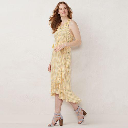 Petite LC Lauren Conrad Ruffle Halter Ruffle Wrap Dress