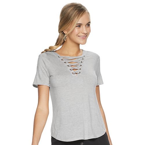 Juniors' Mudd® Short Sleeve Lace Front Tee Shirt
